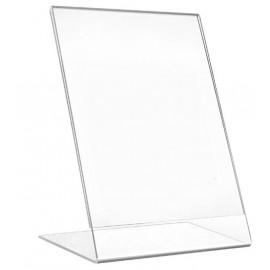 Display de Mesa em L Inclinado em Acrílico Cristal 2mm 150x210mm
