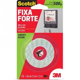 Fita adesiva dupla face espuma Fixa Forte 12mmx1,5m Scotch 3M