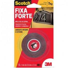 Fita adesiva dupla face espuma Uso Externo Fixa Forte 24mmx1,5m Scotch 3M