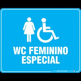 Placa Acessibilidade WC Feminino e Cadeirante Especial