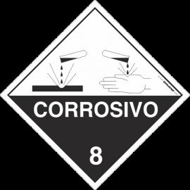 Placa Transporte de Risco Corrosivo 8