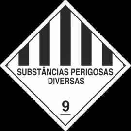 Placa Transporte de Risco Substâncias Perigosas Diversas