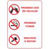 Adesivo Coluna Proibido Uso de Celular, Proibido Fumar, Desligue o Motor